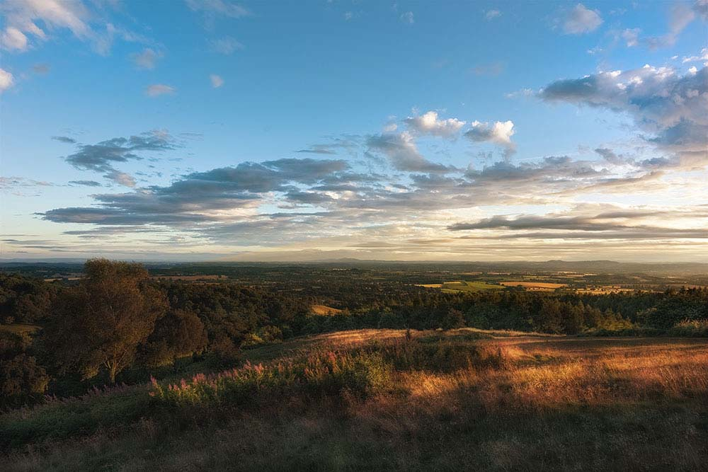 Summer sunset at Clent hills.